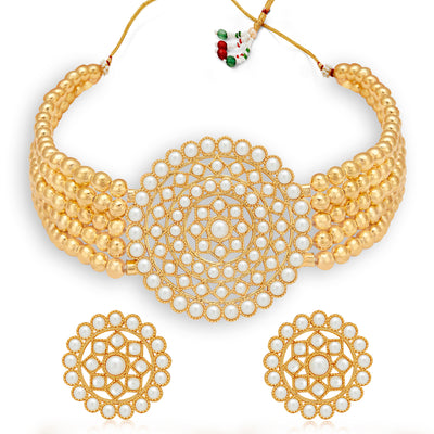 Sukkhi Lavish Gold Plated Pearl Choker Necklace Set for Women