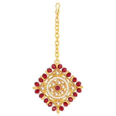 Sukkhi Lavish LCT Gold Plated Maroon & White Pearl Choker Necklace Set for Women