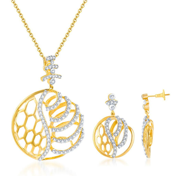 Pissara Classy Gold and Rhodium plated CZ Pendant Set
