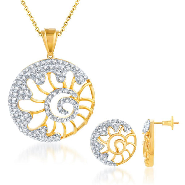Pissara Incredible Gold and Rhodium plated CZ Pendant Set