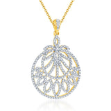Pissara Enchanting Gold and Rhodium plated CZ Pendant Set -1
