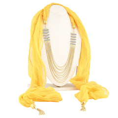 Sukkhi Wavy 10 String Gold Plated Scarf Necklace With Chain For Women