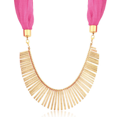 Sukkhi Excellent Gold Plated Scarf Necklace With Chain For Women-1