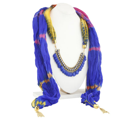 Sukkhi Gorgeous Gold Plated Scarf Necklace With Chain For Women