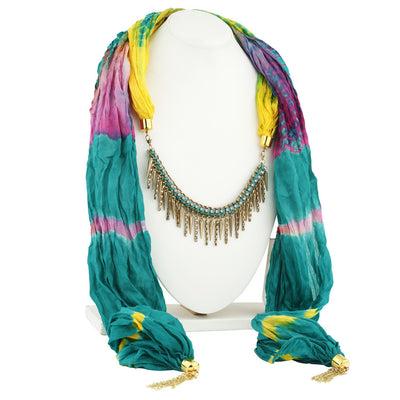 Sukkhi Sparkling Gold Plated Scarf Necklace With Chain For Women