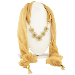 Sukkhi Blossomy Gold Plated Scarf Necklace With Chain For Women