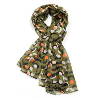Block Floral Scarf - Green