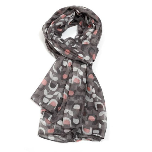 Block Floral Scarf - Grey