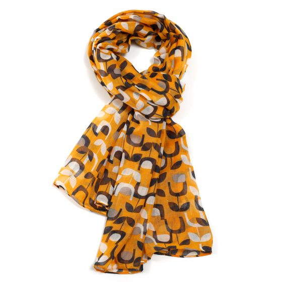 Block Floral Scarf - Mustard