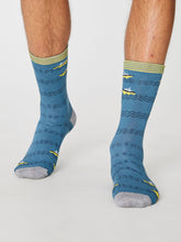 Load image into Gallery viewer, Blue Boat Bamboo Socks