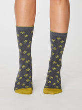 Load image into Gallery viewer, Grey Floral Bamboo Socks