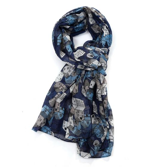 Little House Scarf - Navy