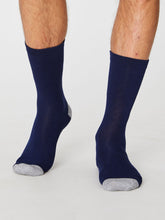 Load image into Gallery viewer, Plain Navy Bamboo Socks