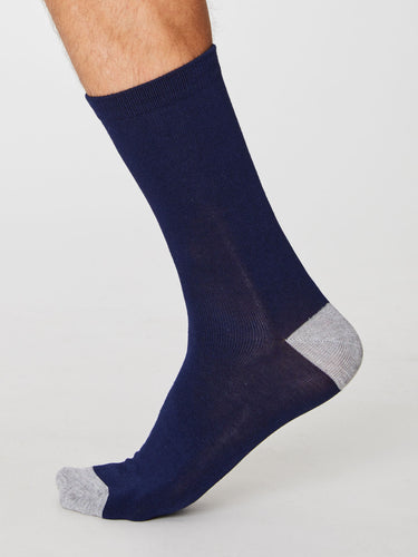 Plain Navy Bamboo Socks