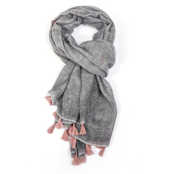Plain Tassel Scarf - Grey