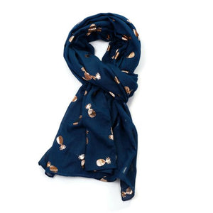 Rose Gold Pineapple Scarf - Navy