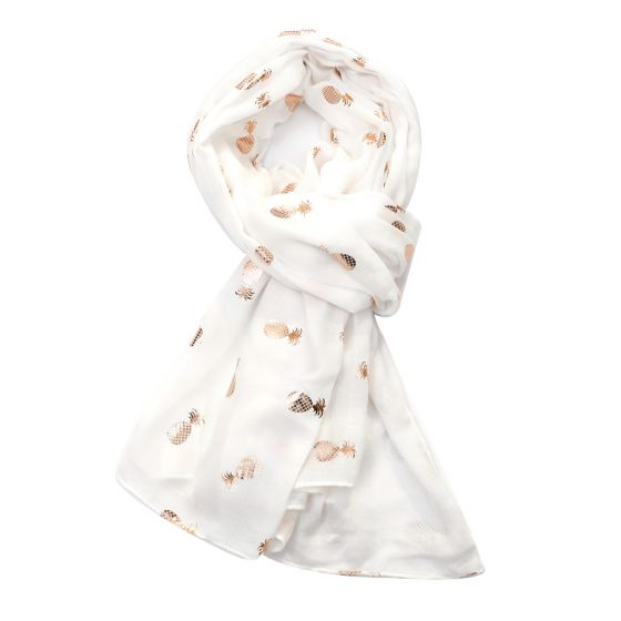Rose Gold Pineapple Scarf - White
