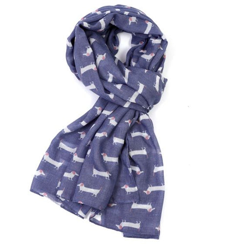 Sausage Dog Scarf - Blue