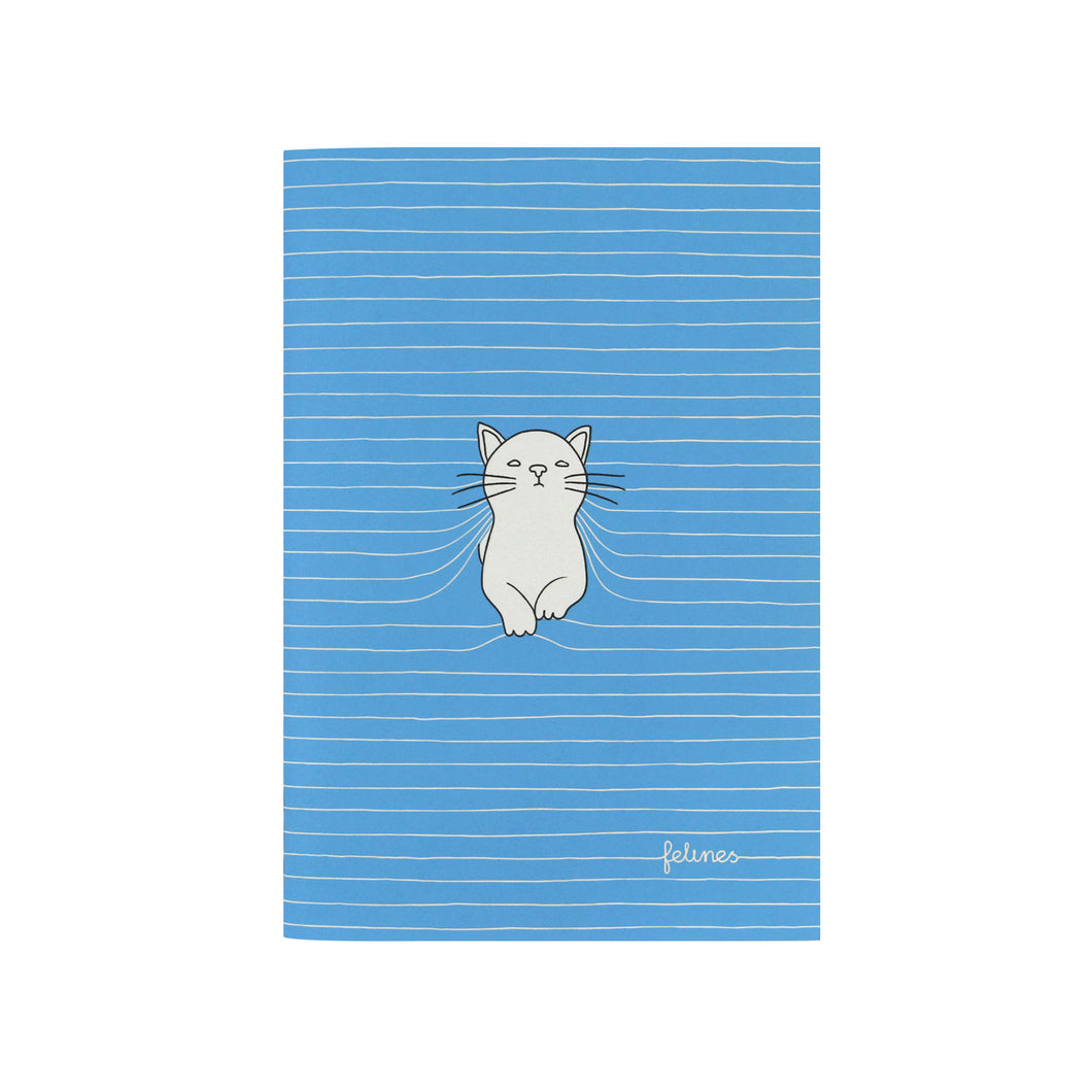 Small Blue Stitched Cat Notebook