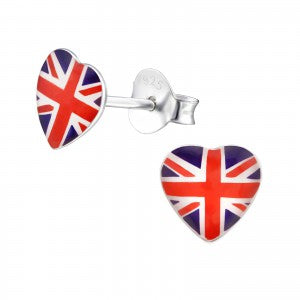 Sterling Silver Union Jack Heart Earrings