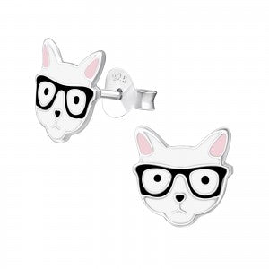 Sterling Silver Cats in Glasses Earrings