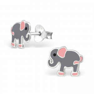 Sterling Silver Colourful Elephant Earrings