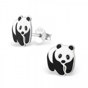 Sterling Silver Panda Earrings