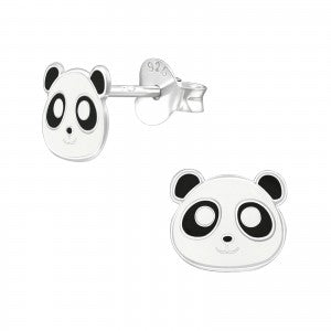 Sterling Silver Panda Face Earrings