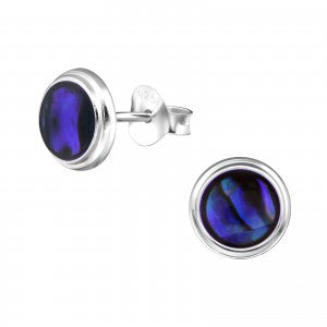 Sterling Silver Round Blue Earrings