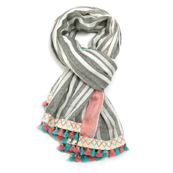 Tassel Bright Border Scarf - Pink and Blue