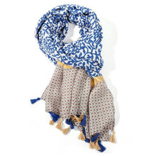 Load image into Gallery viewer, Tassel Leaf Scarf - Navy