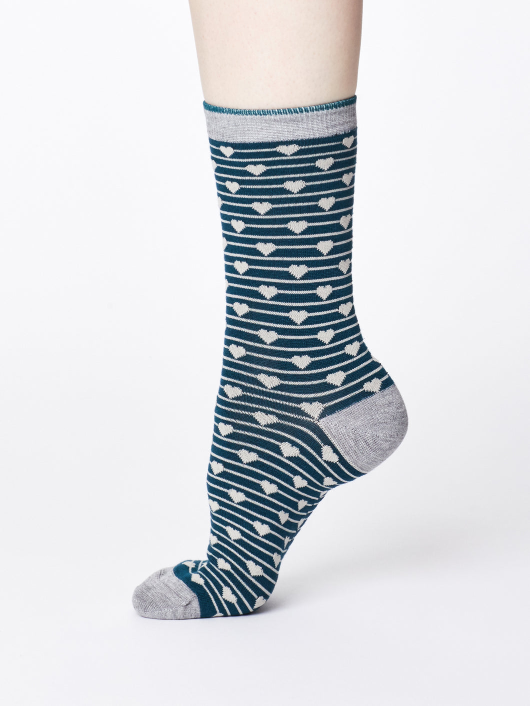 Teal Hearts Bamboo Socks