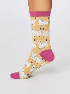 Yellow Cute Cat Bamboo Socks