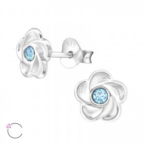 Sterling Silver Flower Crystal Earrings