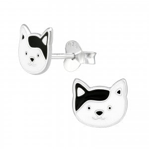 Sterling Silver Cute Cat Face Earrings