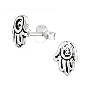 Sterling Silver Hamsa Hand Earrings