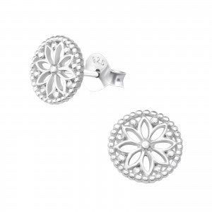 Sterling Silver plain Flower Earrings