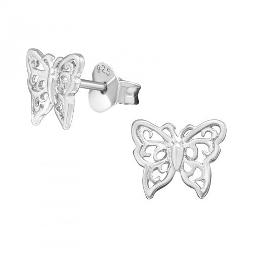 Sterling Silver Pretty Butterfly Earrings