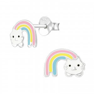 Sterling Silver Rainbow Cat Earrings