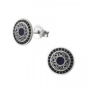 Sterling Silver Bali Round Earrings