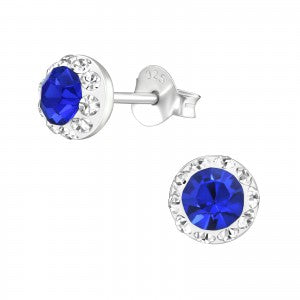 Sterling Silver round blue crystal earrings