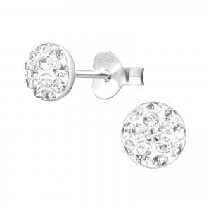 Sterling Silver round crystal earrings
