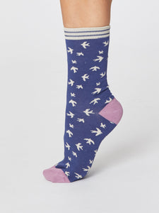 Blue Swallow Bamboo Socks