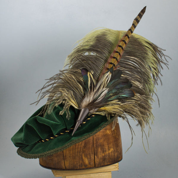 Long Fancy Feather Hat Pin - Antique Natural Green and Butterscotch - Tall Toad
