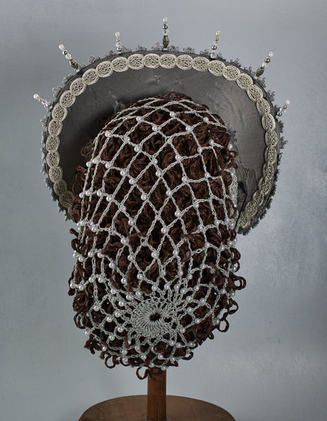 Hand Crocheted Snood - Silver Metallic / Pearls - Tall Toad