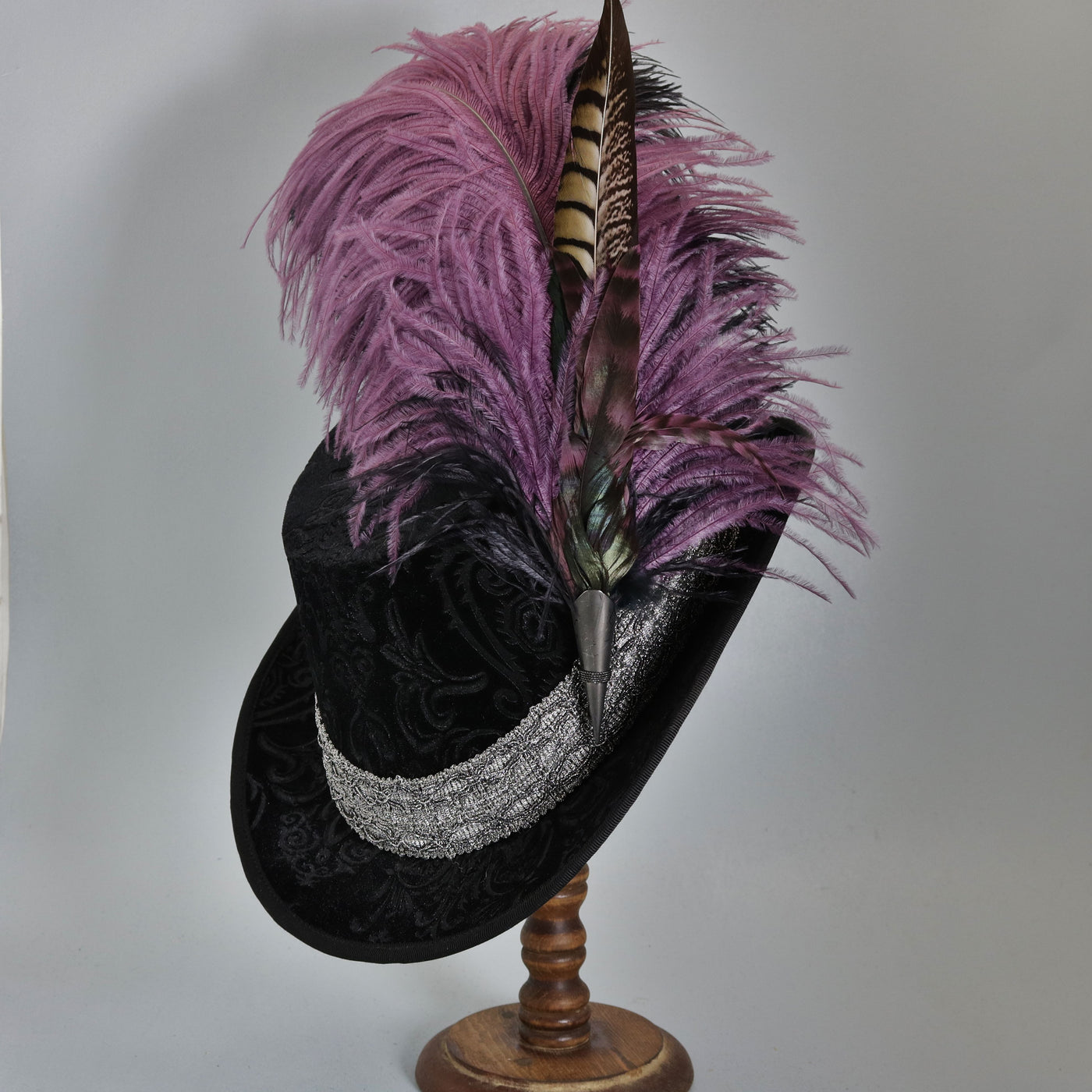Crushed Velvet Tall Hat - Black Embossed / Silver - Tall Toad