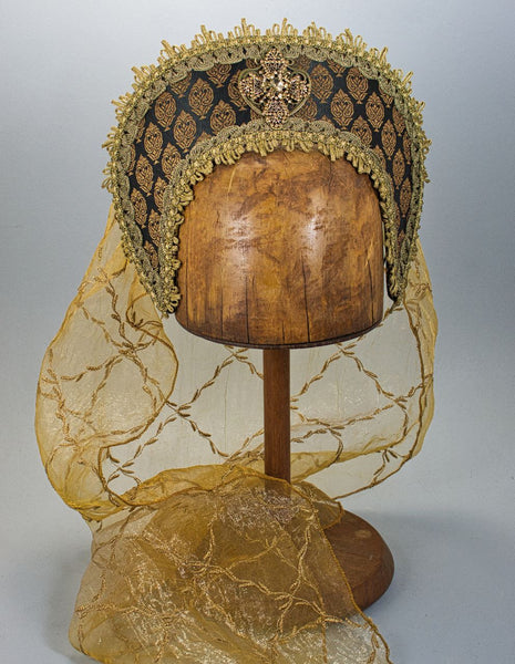 Large French Hood - Black Gold Brocade / Gold Amber Jewel / Gold Embroidered Veil