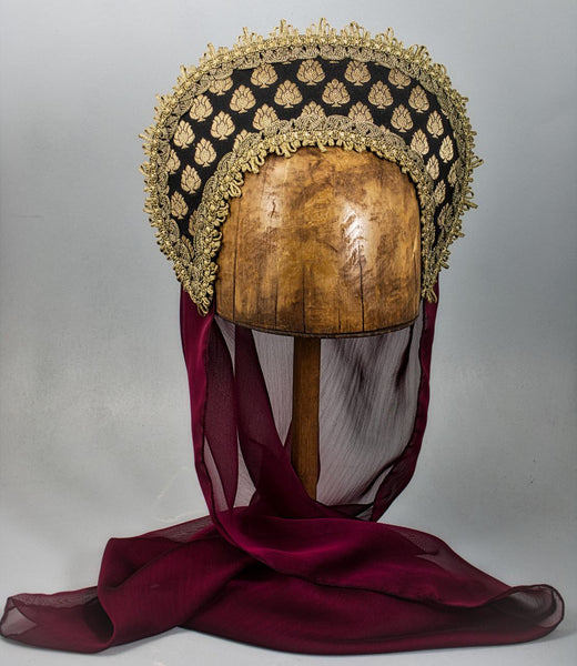 Large French Hood - Black Gold Brocade / Gold Trim / Burgundy Veil