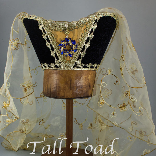 Fancy Horned Headdress - Black Velvet / Gold Sequin Veil / Blue Jewel - Tall Toad