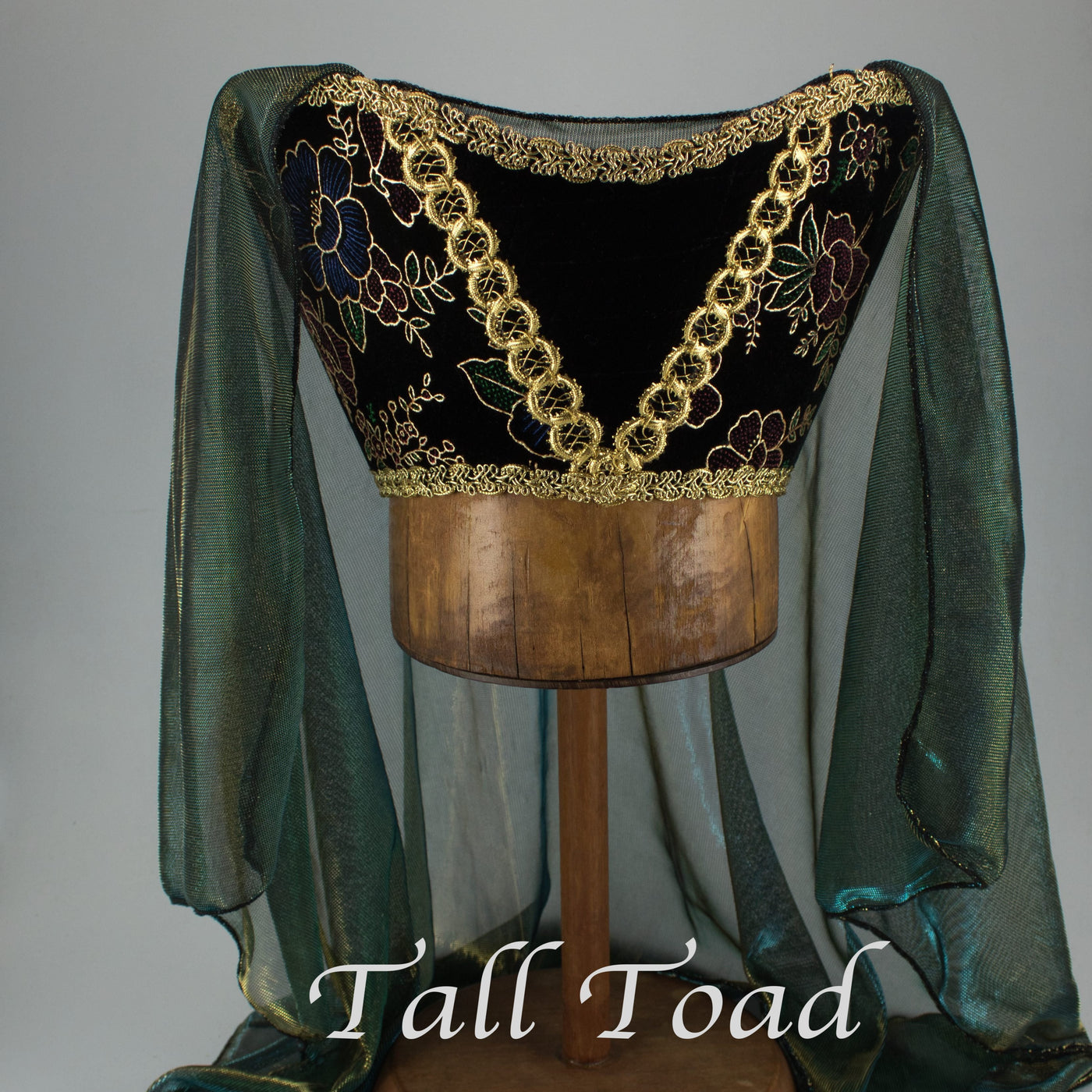 Horned Headdress - Black Multi Colored Velvet/Gold Trim/Teal Metallic Veil - Tall Toad